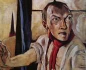 Autorretrato con bufanda roja (1917) - Max Beckmann